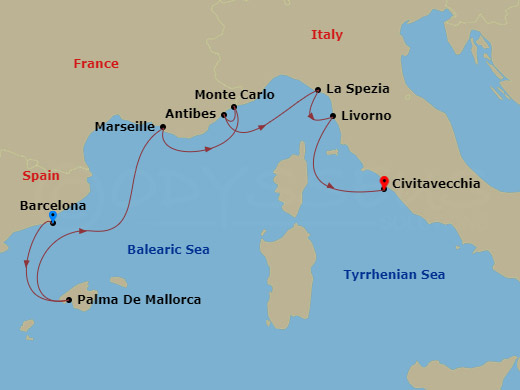 Map for 7 Night Mediterranean