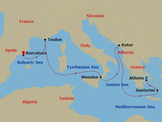 7 Night Mediterranean ATH to BCN Crown Princess